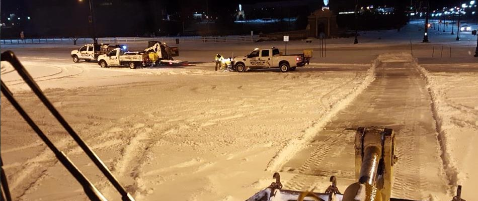 We use a combination of salt and calcium chloride for deicing purposes for all of our clients, including in Mayfield.