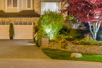 Landscape lighting that includes uplighting of a tree at a home in Mayfield, KY.